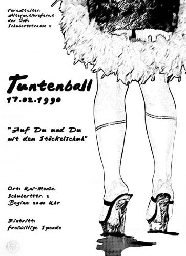 Das Flugblatt zum ersten Tuntenball 1990
